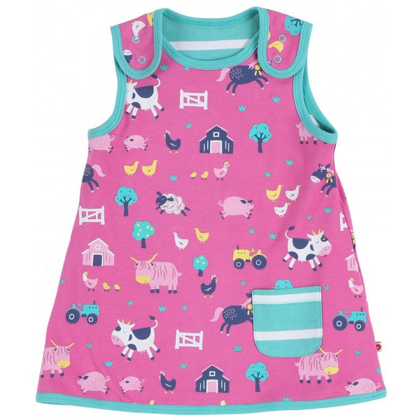 Farmyard Reversible Dress. The Little Owl's Nest Children's clothing