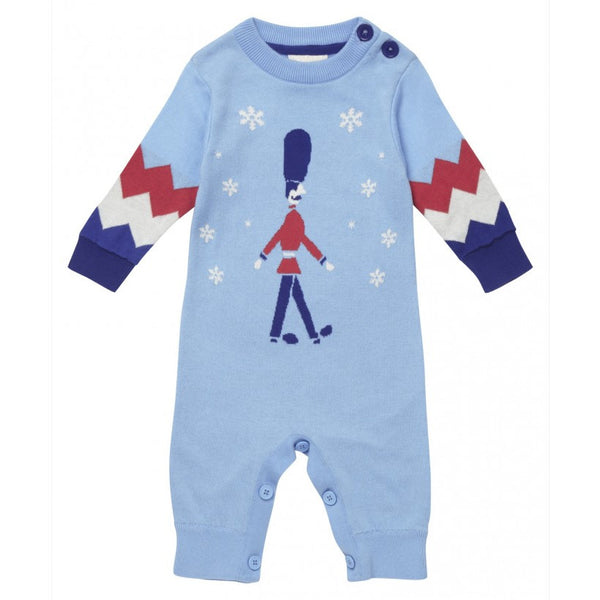 Marching solider christmas romper in blue from Piccalilly Clothing at The Little Owls Nest