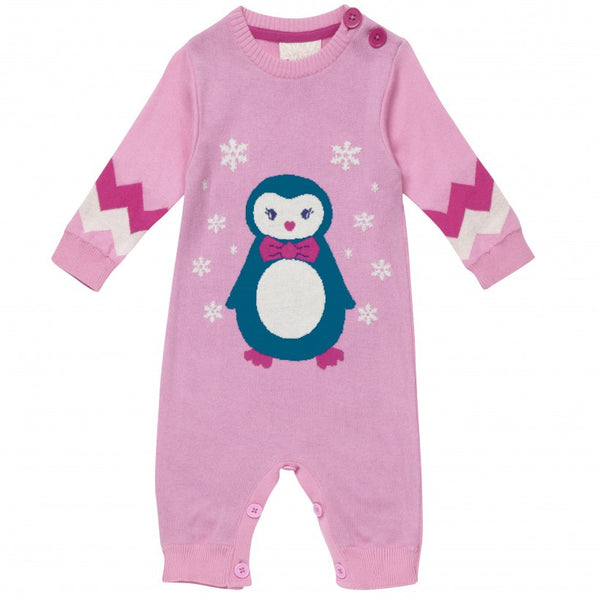 Pink penguin christmas romper from Piccalilly Clothing at The Little Owls Nest.