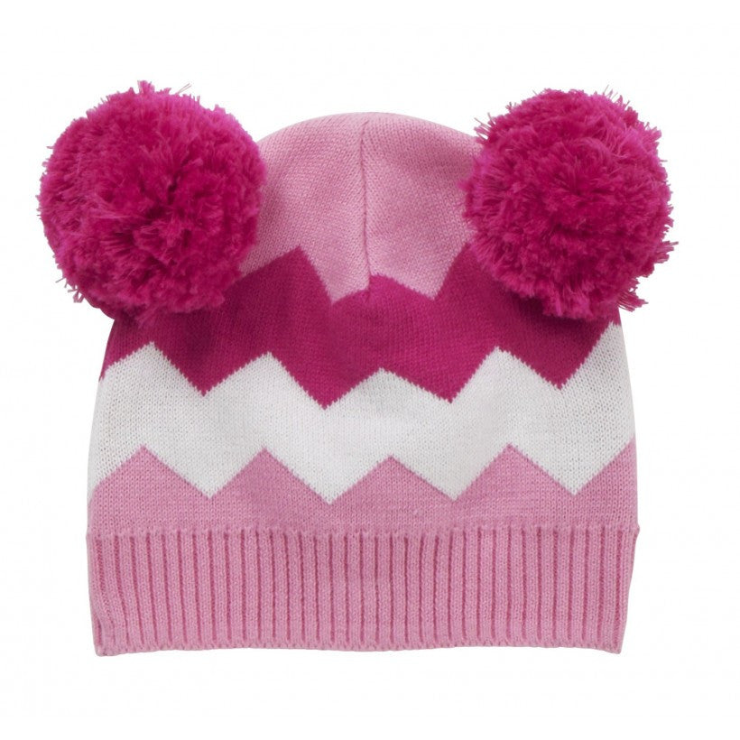 5a3196fb334 Pink knitted bobble hat from Piccalilly Clothing at The Little Owls Nest.