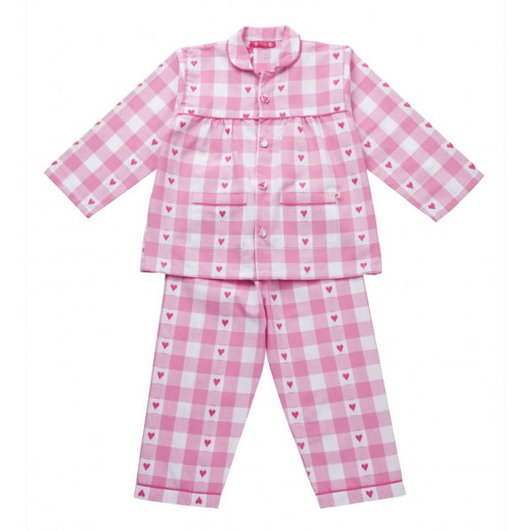 Pink gingham heart pjs from Piccalilly Clothing at The Little Owls Nest.