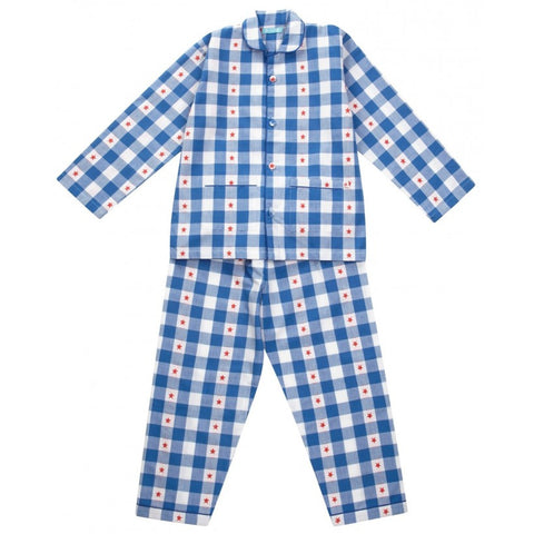 Blue gingham pjs from Piccalilly Clothing at The Little Owls Nest.