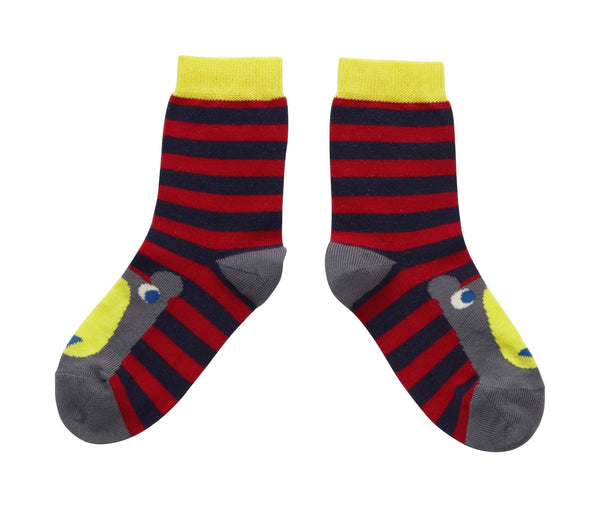 Black and red stipe bear socks. From Piccalilly Clothing at The Little Owls Nest