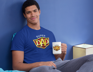 SuperDad T-Shirt and mug for Dads who are proud fathers striving to bring up SuperKids!