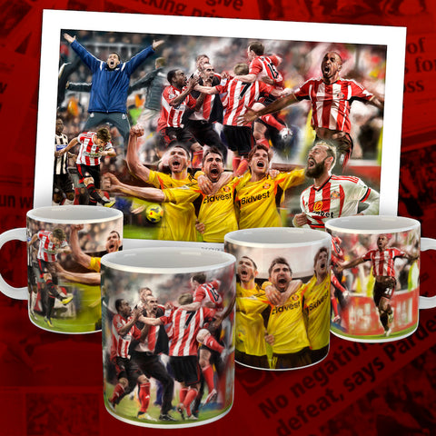six in a row Sunderland AFC artwork collection. Mugs and prints