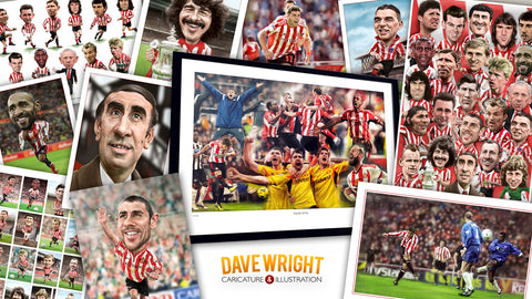 Sunderland AFC caricature and fine art prints by Dave Wright