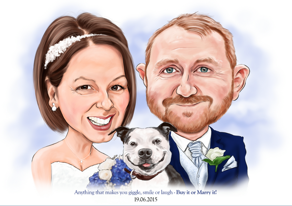 Bespoke, full colour, 2 person caricature (Head and shoulders)