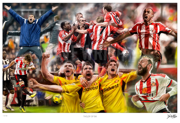 'The Joy of Six'. Sunderland AFC v Newcastle United . Limited edition print. (A4 size 297mm x 210mm) or A3 size (420mm x 297mm)