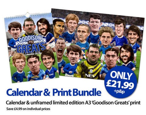'Goodson Greats' (Everton FC) Calendar & Limited Edition A3 print bundle