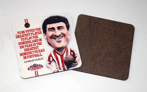 Charlie Hurley - Sunderland Legend -  drinks coaster.