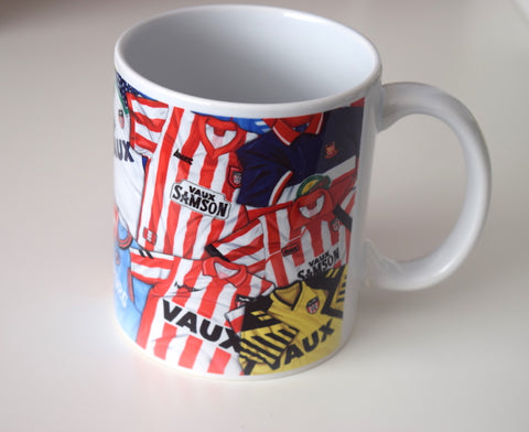 CLEARANCE - SLIGHT SECONDS Classic SAFC kits of the 80s & 90s, (Sunderland AFC) Caricature Mug
