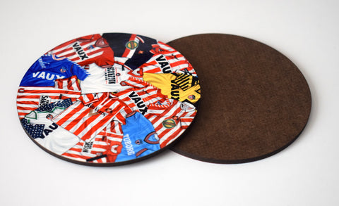 Sunderland - 'Classic kits of the 80s and 90s' drinks coaster.