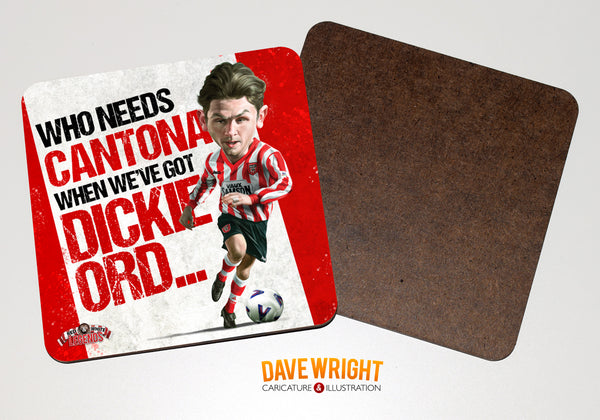 Dickie Ord - Sunderland cult hero -  drinks coaster.