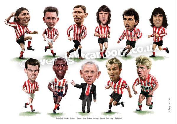 Red & White Legends (Sunderland AFC) Version 2 - Limited edition caricature print