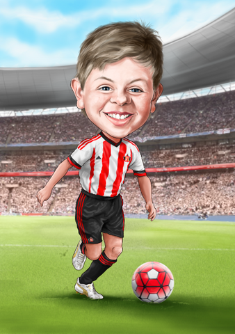 Bespoke Football star caricature - unframed