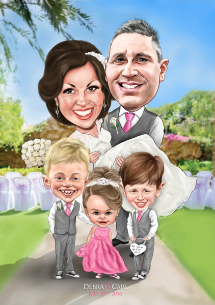 Full Colour A3 Family Caricature