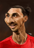 Zlatan Ibrahimovic caricature - Manchester United. Limited edition print. (A4 size 297mm x 210mm)