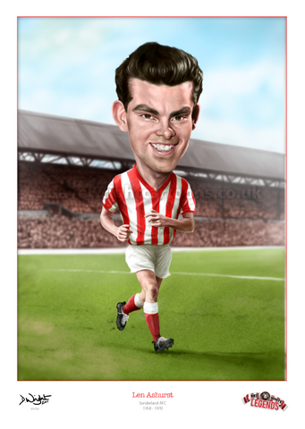 Len Ashurst Caricature. Red & White Legends. (Sunderland AFC) Limited edition print. (A4 size 297mm x 210mm) or A3 size (420mm x 297mm)