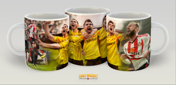 '6 in a row' Borini, Bardsley, Alonso and Fletcher (Sunderland AFC) mug - by Dave Wright