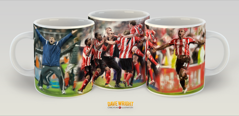 '6 in a row' Poyet, Di Canio and Defoe (Sunderland AFC) mug - by Dave Wright