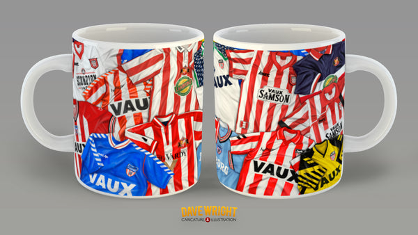 80s and 90s classic kits (Sunderland AFC) mug - by Dave Wright