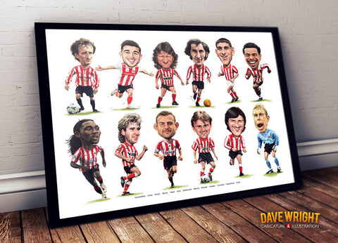 Cult heroes & Crowd favourites #2 (Sunderland AFC) Limited edition caricature print