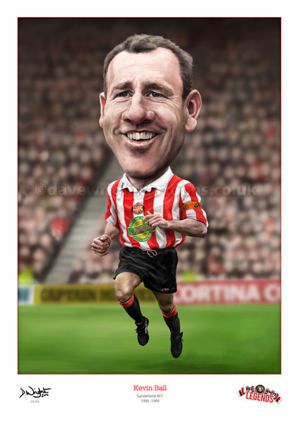 Kevin Ball. Red & White Legends. (Sunderland AFC) Limited edition print. (A4 size 297mm x 210mm) or A3 size (420mm x 297mm)