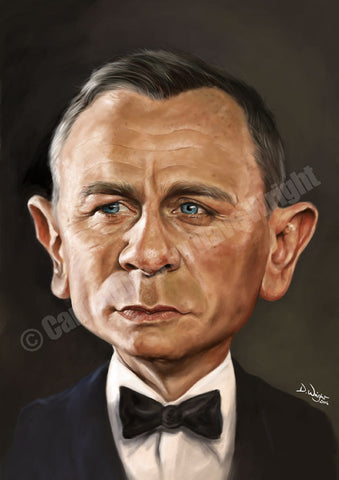 Daniel Craig as James Bond. Limited edition print. (A4 size 297mm x 210mm)