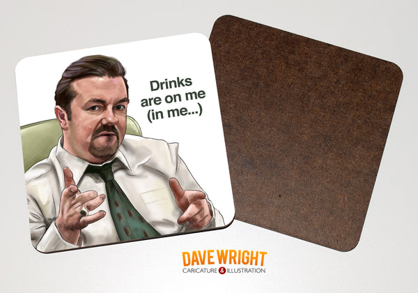 David Brent 'The Office' drinks coaster