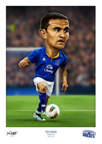 Tim Cahill Caricature. Goodson Greats. (Everton FC) Limited edition print. (A4 size 297mm x 210mm) or A3 size (420mm x 297mm)