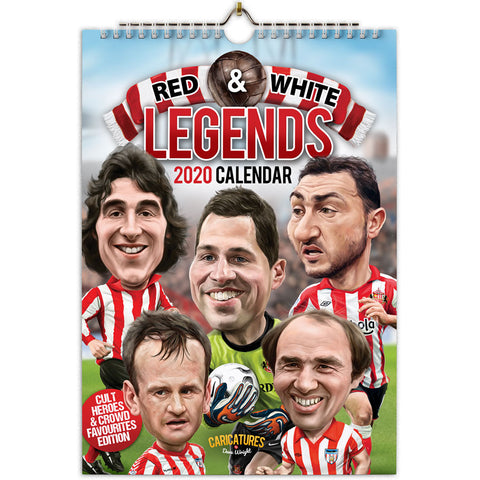 REDUCED Red & White Legends - 'Cult heroes & crowd favourites' (Sunderland AFC) A4 2020 caricature wall Calendar