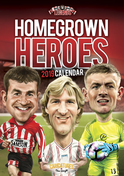 REDUCED 'Homegrown Heroes' (Sunderland AFC) A4 2019 caricature wall Calendar