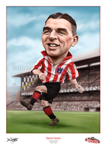 Raich Carter Caricature. Red & White Legends. (Sunderland AFC) Limited edition print. (A4 size 297mm x 210mm) or A3 size (420mm x 297mm)
