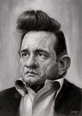 Johnny Cash Caricature. Limited edition print. (A4 size 297mm x 210mm)