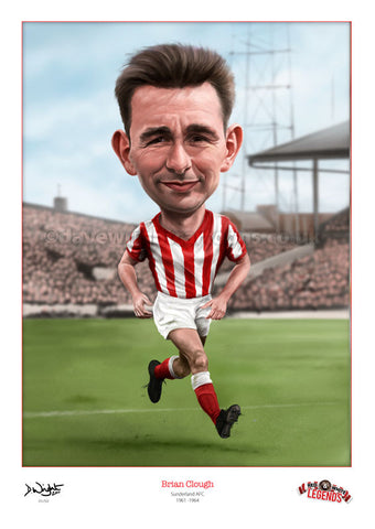 Brian Clough Caricature. Red & White Legends. (Sunderland AFC) Limited edition print. (A4 size 297mm x 210mm) or A3 size (420mm x 297mm)