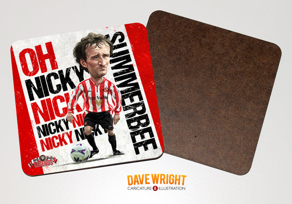 Nicky Summerbee - Sunderland cult hero -  drinks coaster.