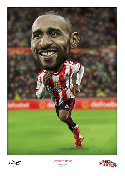 Jermain Defoe - Sunderland AFC. Limited edition print. 2 sizes available