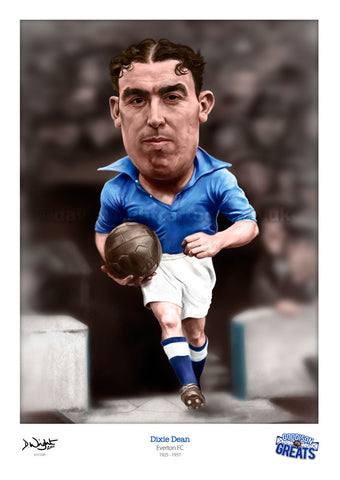 Dixie Dean Caricature. Goodson Greats. (Everton FC) Limited edition print. (A4 size 297mm x 210mm) or A3 size (420mm x 297mm)