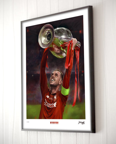 Jordan Henderson - Liverpool FC. Limited edition art print. (A4 or A3 size)