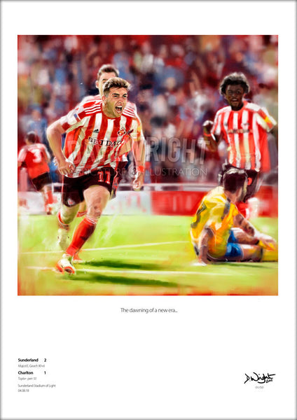 'The dawning of a new era...' - Lynden Gooch v Charlton  - celebration fine art print (Sunderland AFC) Limited edition print. (A4 size 297mm x 210mm) or A3 size (420mm x 297mm)