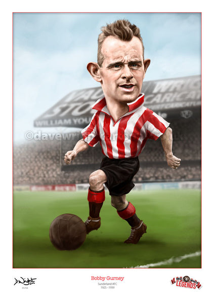 Bobby Gurney Caricature. Red & White Legends. (Sunderland AFC) Limited edition print. (A4 size 297mm x 210mm) or A3 size (420mm x 297mm)