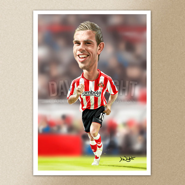 Jordan Henderson (Sunderland AFC)caricature print. (A4 size 297mm x 210mm) or A3 size (420mm x 297mm)