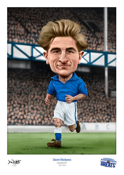Dave Hickson Caricature. Goodson Greats. (Everton FC) Limited edition print. (A4 size 297mm x 210mm) or A3 size (420mm x 297mm)
