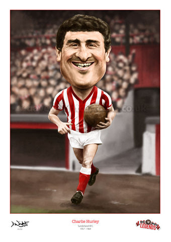 Charlie Hurley Caricature. Red & White Legends. (Sunderland AFC) Limited edition print. (A4 size 297mm x 210mm) or A3 size (420mm x 297mm)