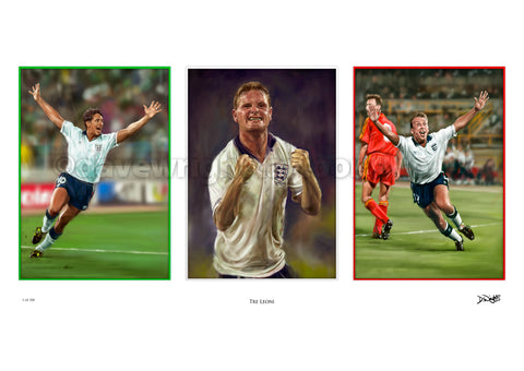 'Trey Leoni' Three Lions, England Italia 90 limited edition art print. (A4 size 297mm x 210mm) or A3 size (420mm x 297mm)