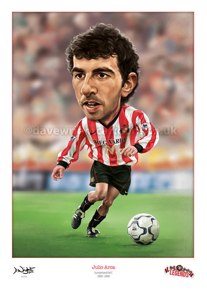 Julio Arca Caricature. Red & White Legends. (Sunderland AFC) Limited edition print. (A4 size 297mm x 210mm) or A3 size (420mm x 297mm)