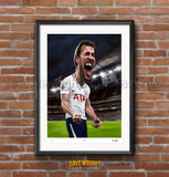 Harry Kane, Spurs and England, Limited edition caricature print. (A4 size 297mm x 210mm) or A3 size (420mm x 297mm)
