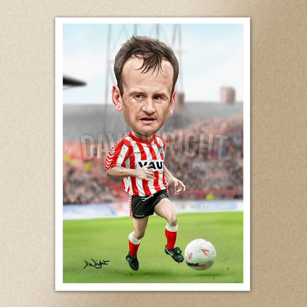 John Kay (Sunderland AFC)caricature print. (A4 size 297mm x 210mm) or A3 size (420mm x 297mm)