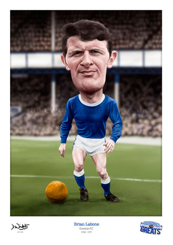 Brian Labone Caricature. Goodson Greats. (Everton FC) Limited edition print. (A4 size 297mm x 210mm) or A3 size (420mm x 297mm)