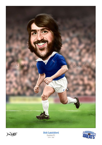 Bob Latchford Caricature. Goodson Greats. (Everton FC) Limited edition print. (A4 size 297mm x 210mm) or A3 size (420mm x 297mm)